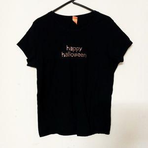 Black studded halloween t-shirt blouse Sz L